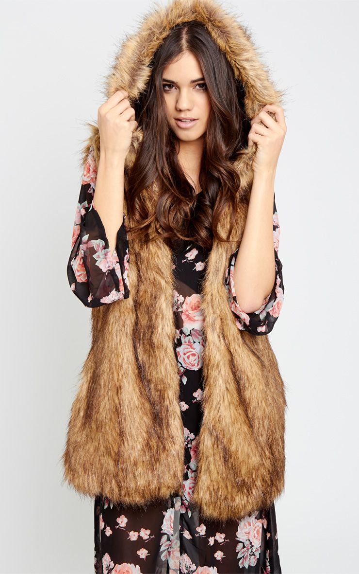 Daphne Brown Fur Hooded Longline Gilet 1