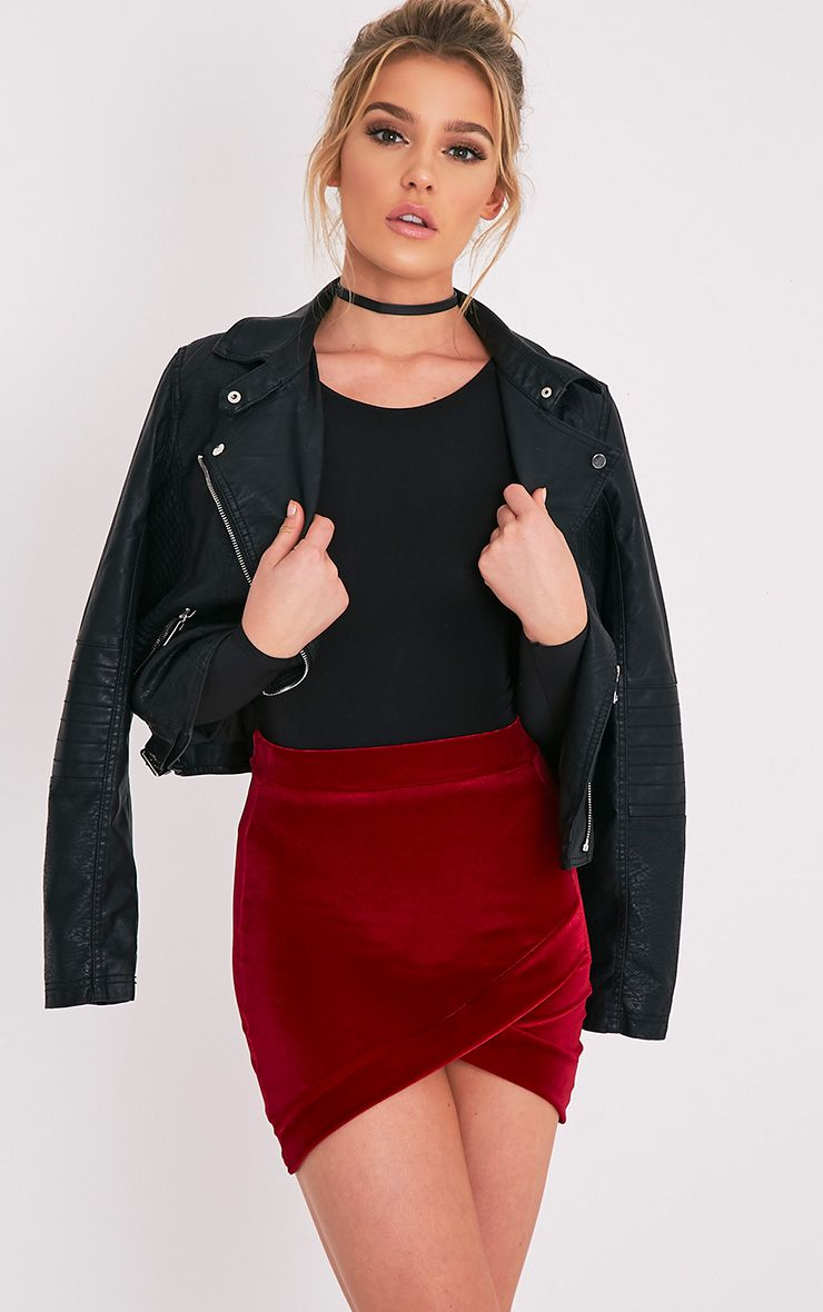 Gabriella Burgundy Velvet Asymmetric Mini Skirt