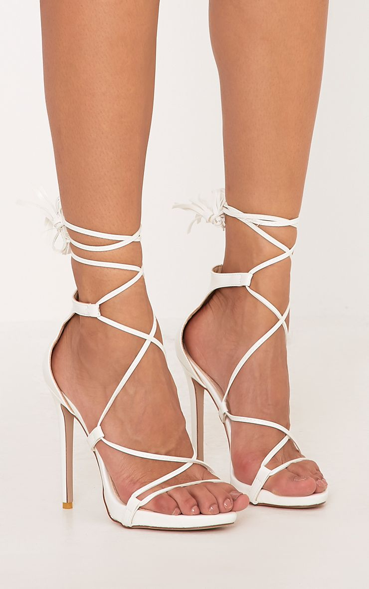 Rosaline White Tassel Lace Up Heels