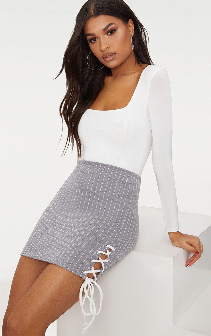 Grey Lace Up Detail Pinstripe Skirt