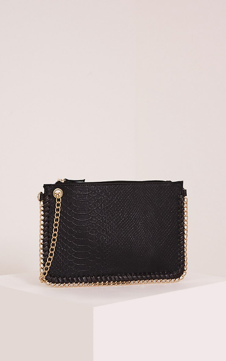 Amia Black Croc Print Chain Detail Clutch Bag Black