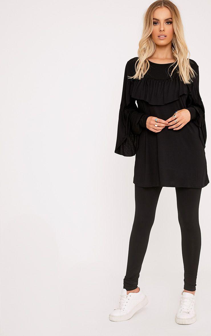 Dara Black Ruffle Sleeve Top & Leggings Set