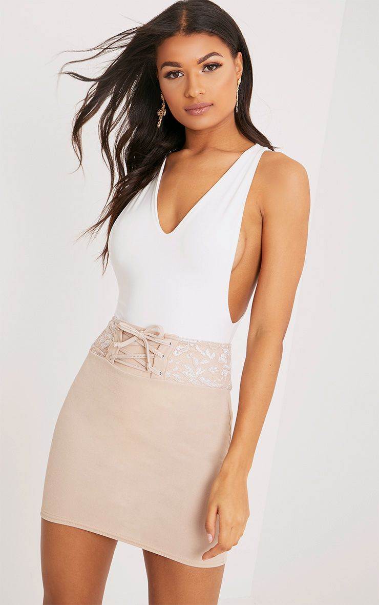 Zayla Nude Lace Detail Corset Mini Skirt
