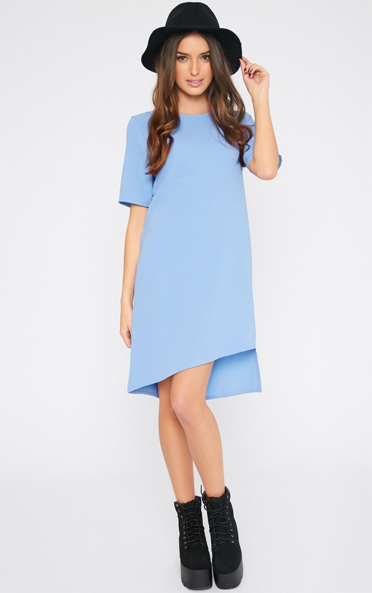 Chastity Powder Blue Asymmetric Shift Dress 1