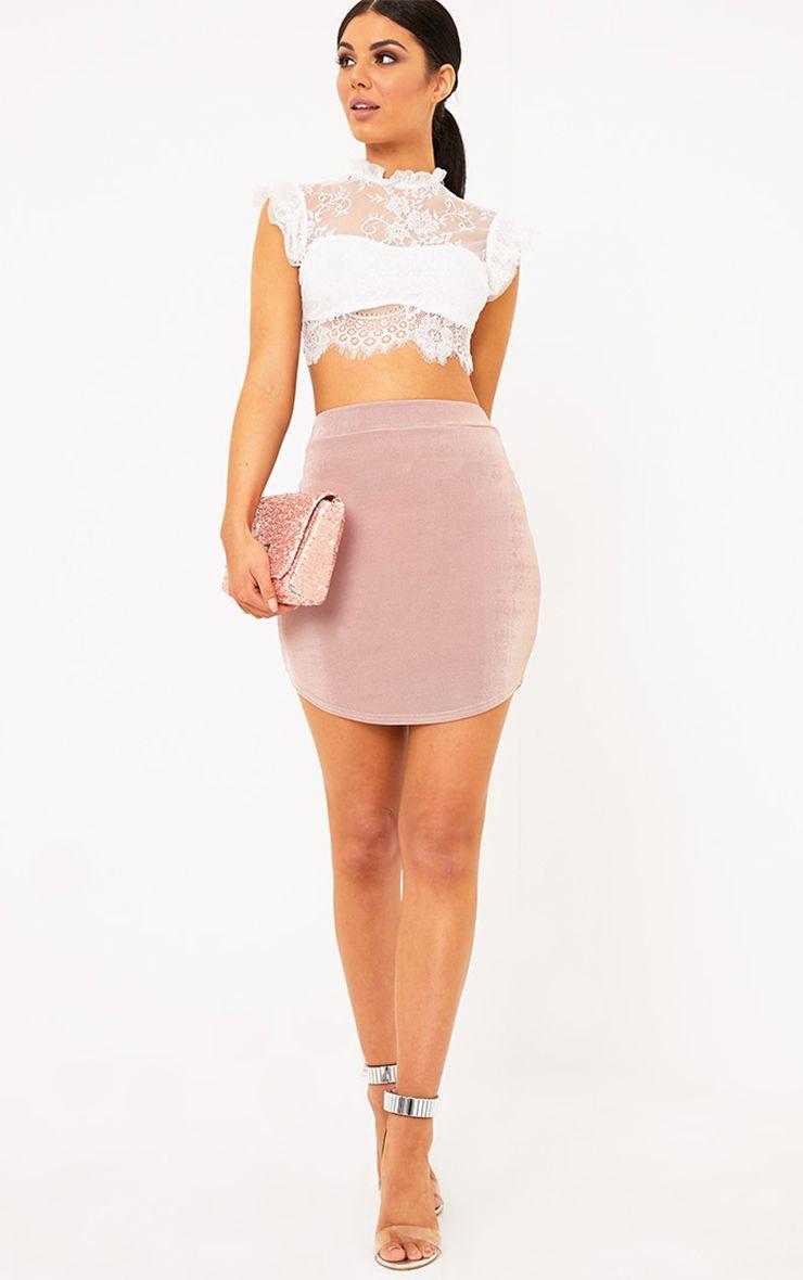 Lizandra Blush Disco Slinky Mini Skirt