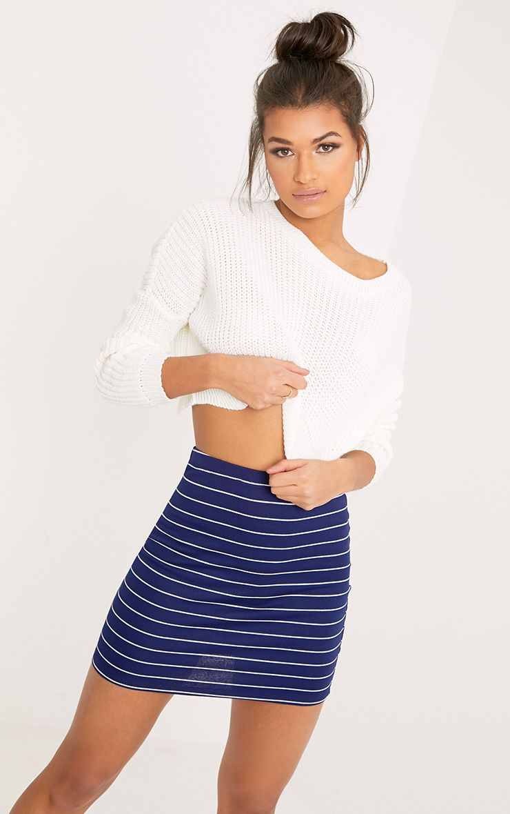 Alishea Navy Ponte Stripe Mini Skirt