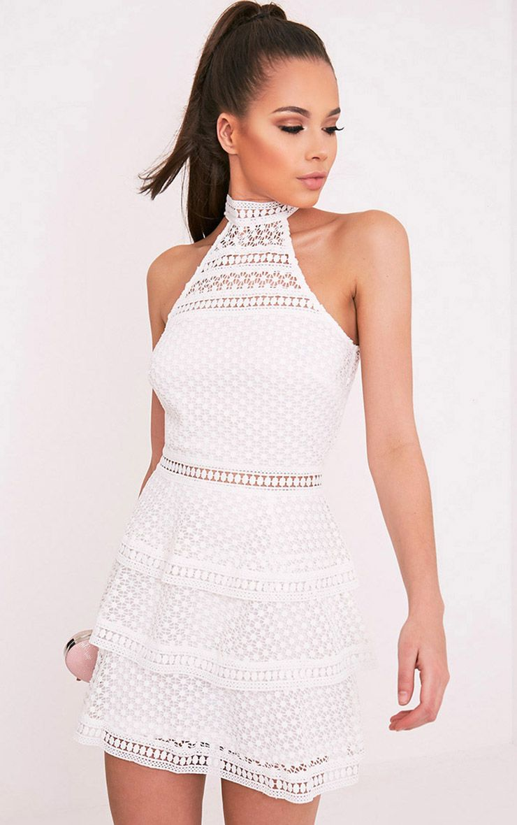 Raine White Lace Panel Tiered Mini Dress