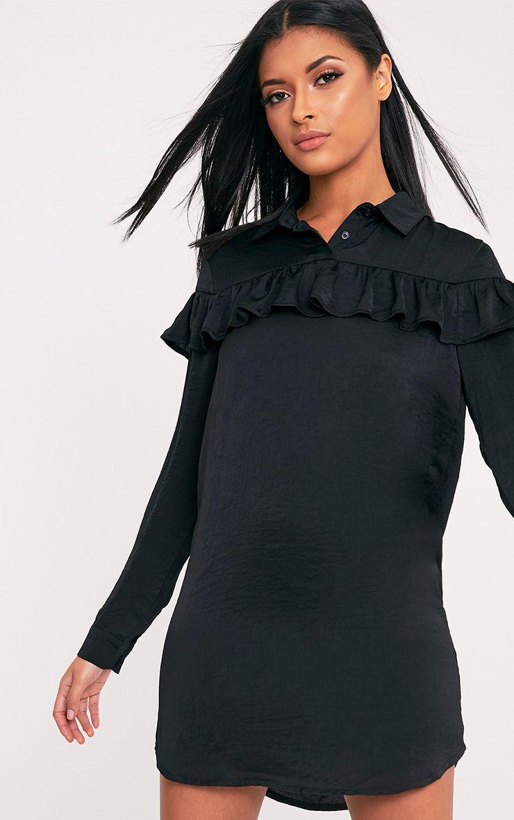 Kerinah Black Satin Frill Shift Dress