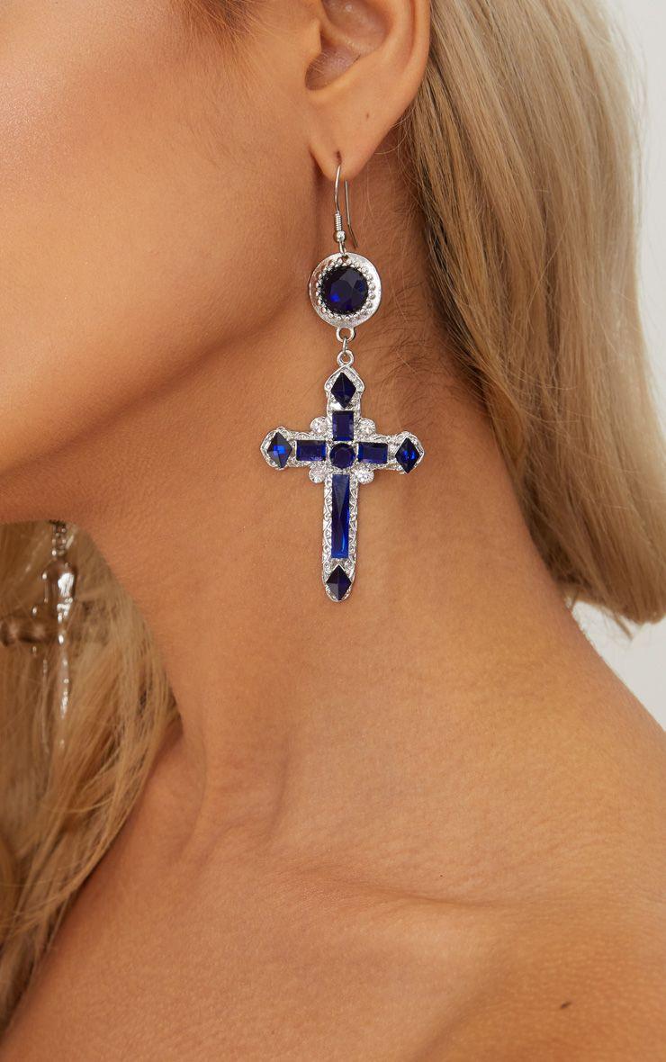 Midnight Blue Gem Cross Earrings