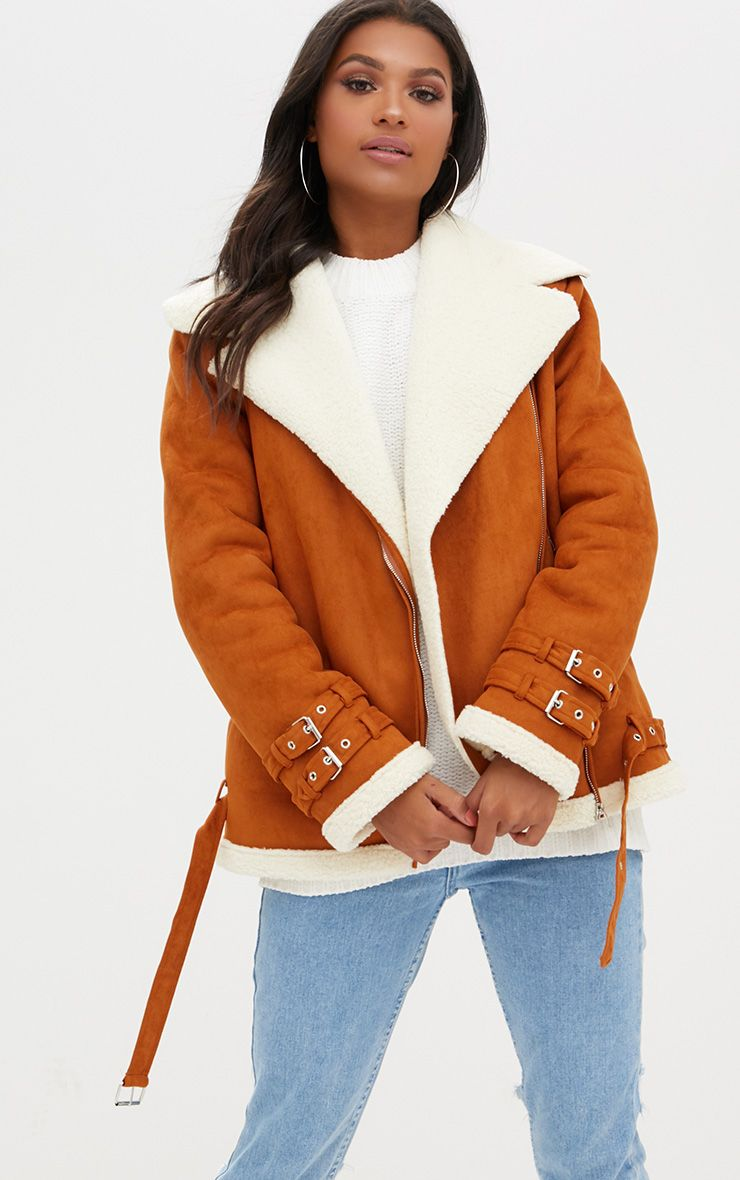 Tan Faux Suede Aviator Jacket