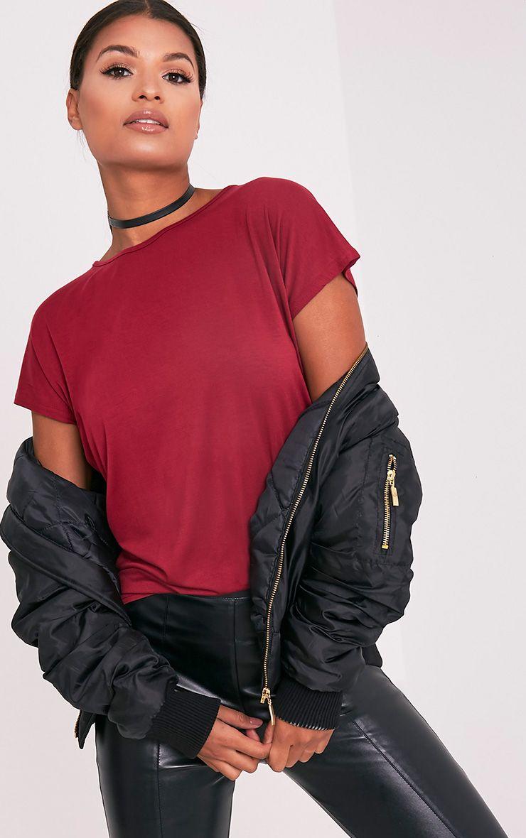 Basic t-shirt surdimensionné à col rond sang de bœuf 2