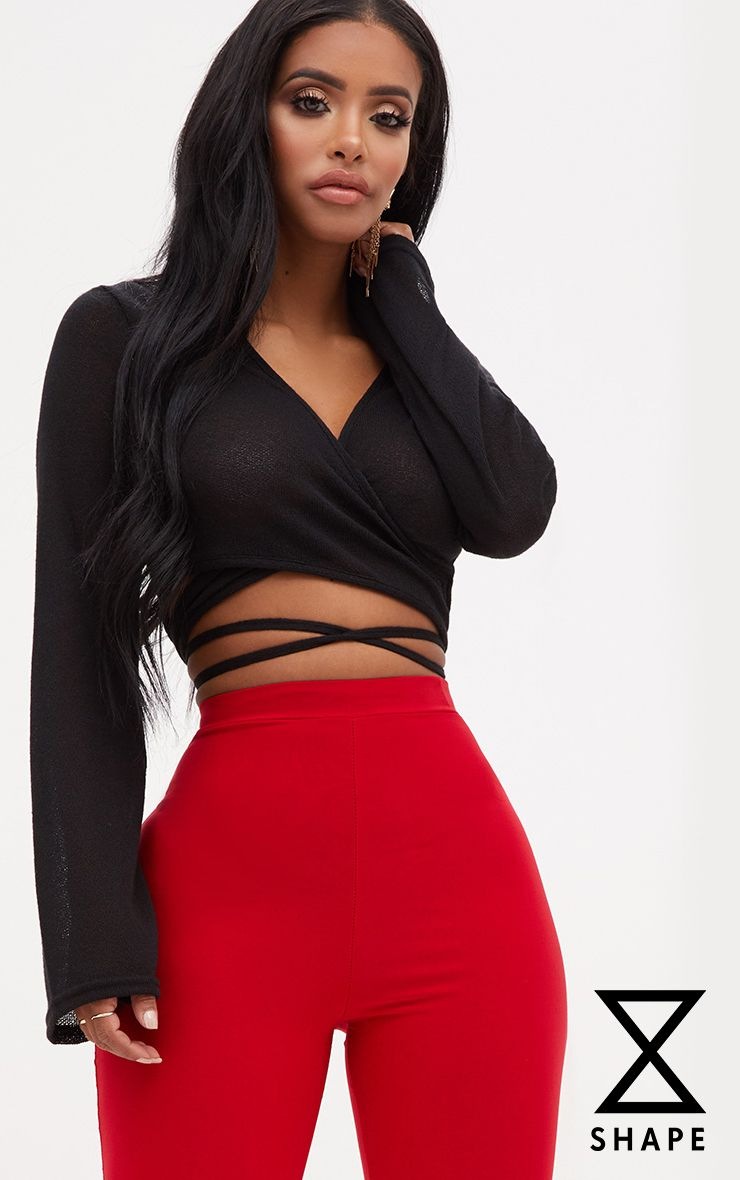 Shape Black Lightweight Knit Wrap Around Crop Top