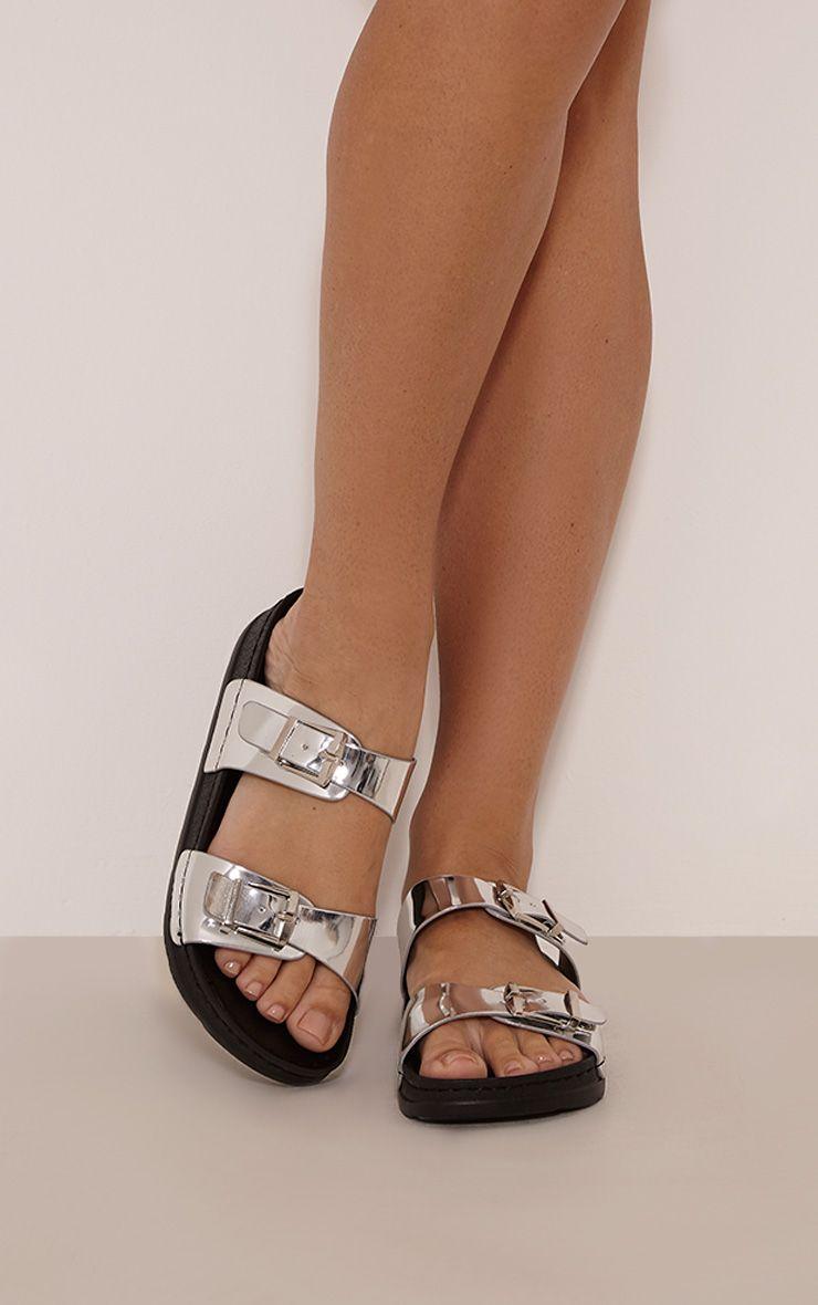 Novia Silver Metallic Patent Strap Sandals 1