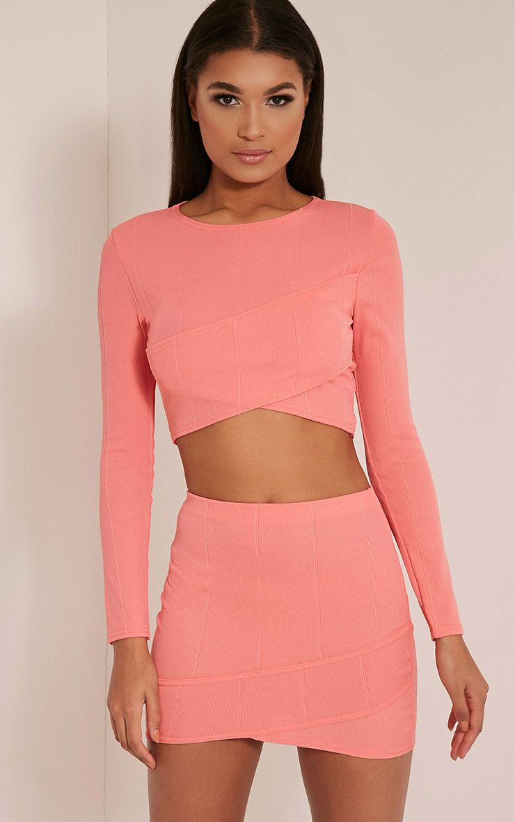 Alena Coral Cross Front Bandage Mini Skirt Orange
