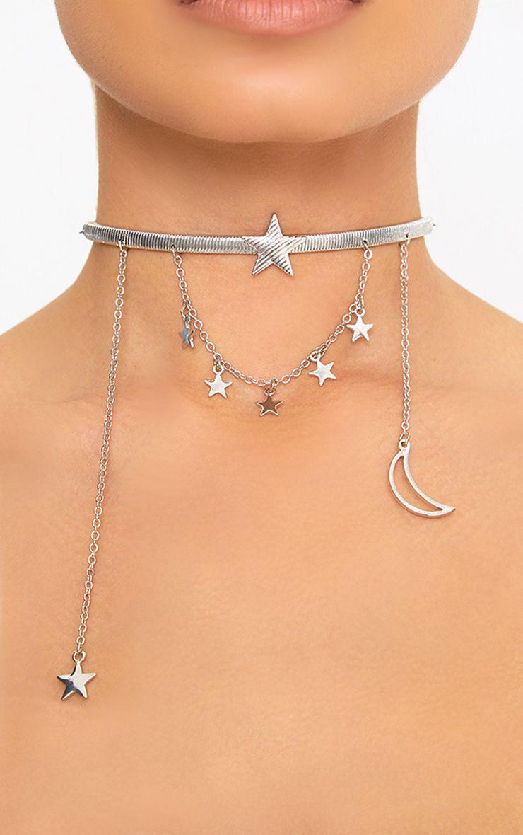 Silver Falling Stars & Moons Choker