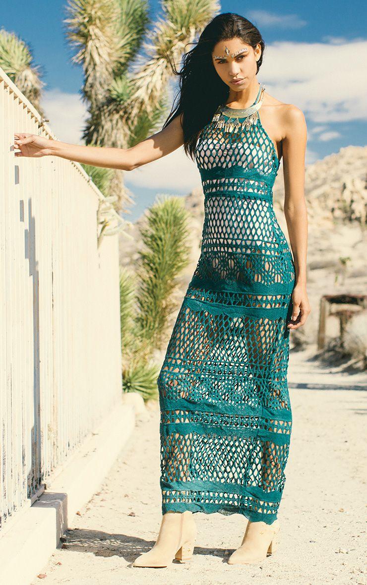 Alaya Teal Crochet Maxi Dress 1