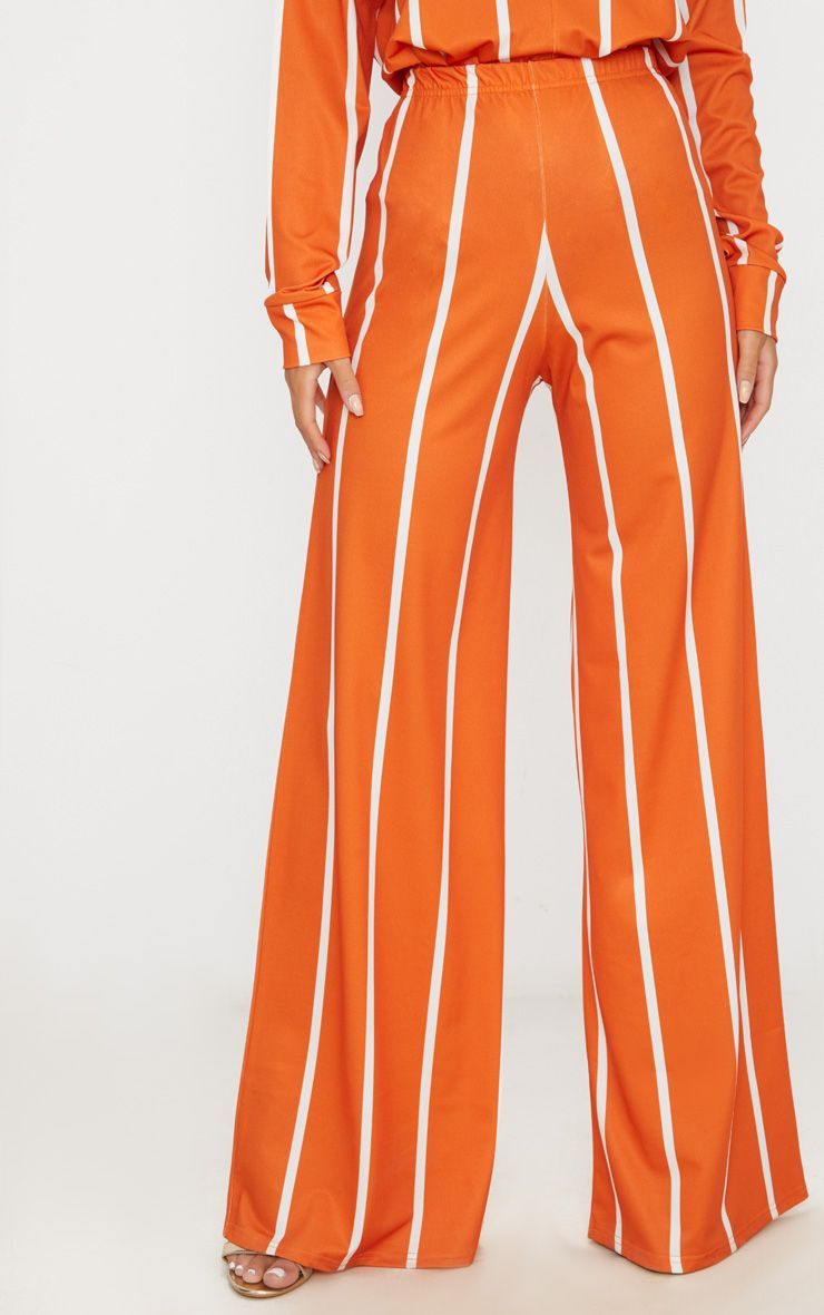 ORANGE STRIPE JERSEY WIDE LEG TROUSERS