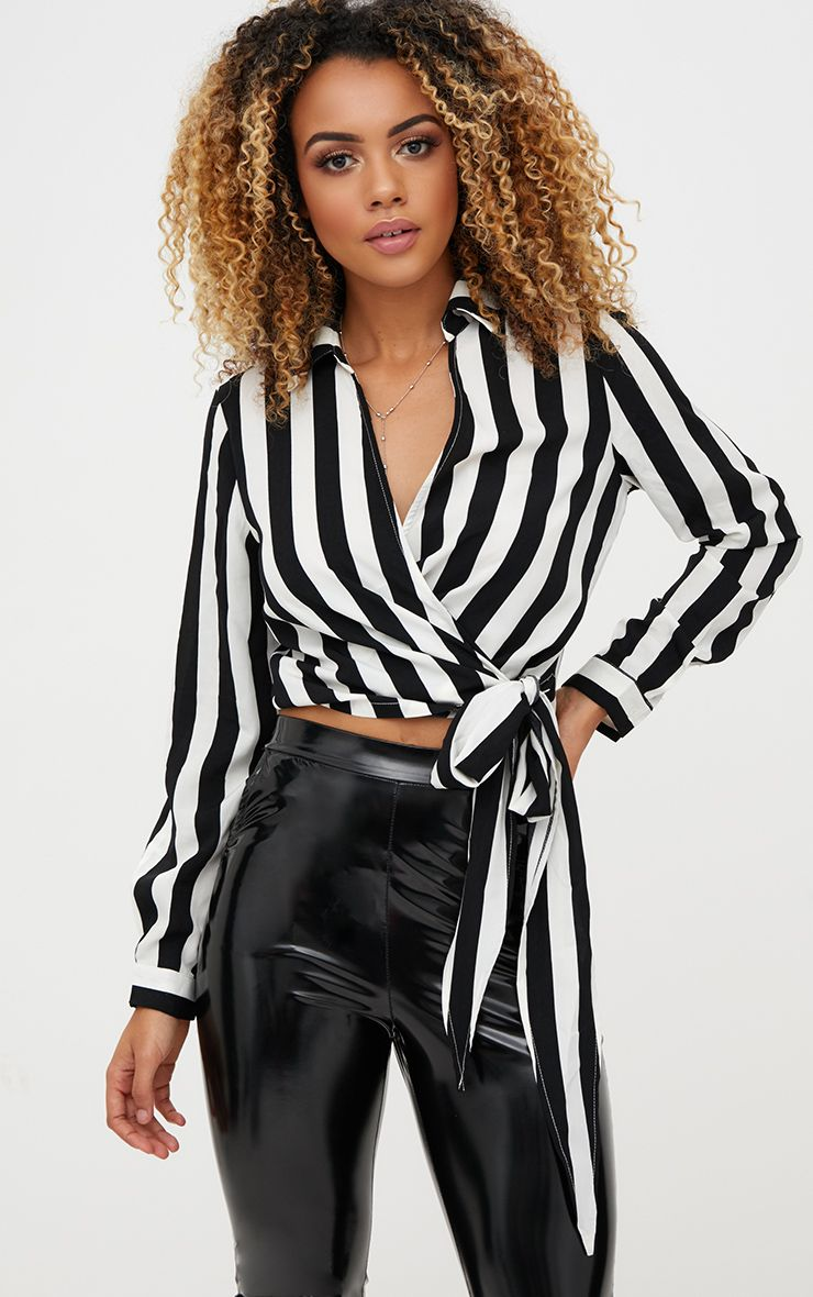 Monochrome Stripe Wrap Front Tie Side Blouse