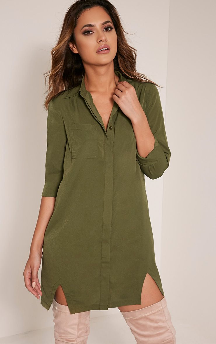 Bronte Khaki Split Detail Shirt Dress Green