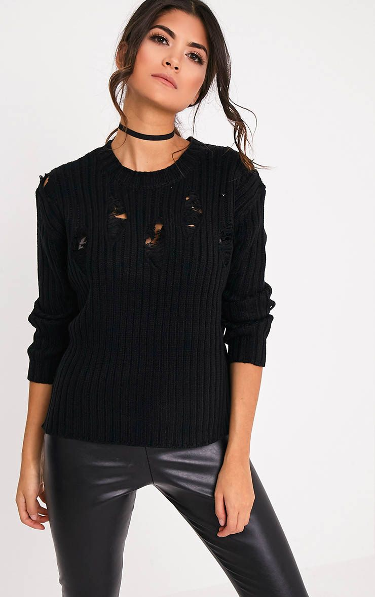 Avae Black Super Distress Thick Knit Jumper