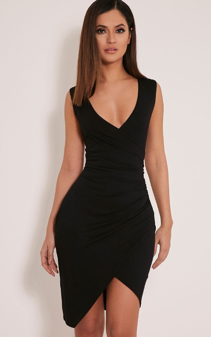 Kendi Black Sleeveless Wrap Mini Dress