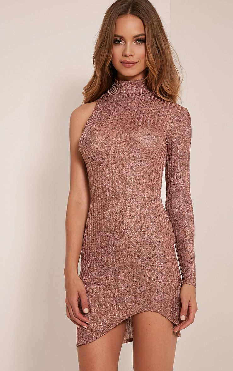 Kerry Rose Gold Metallic High Neck Ribbed Dress 1
