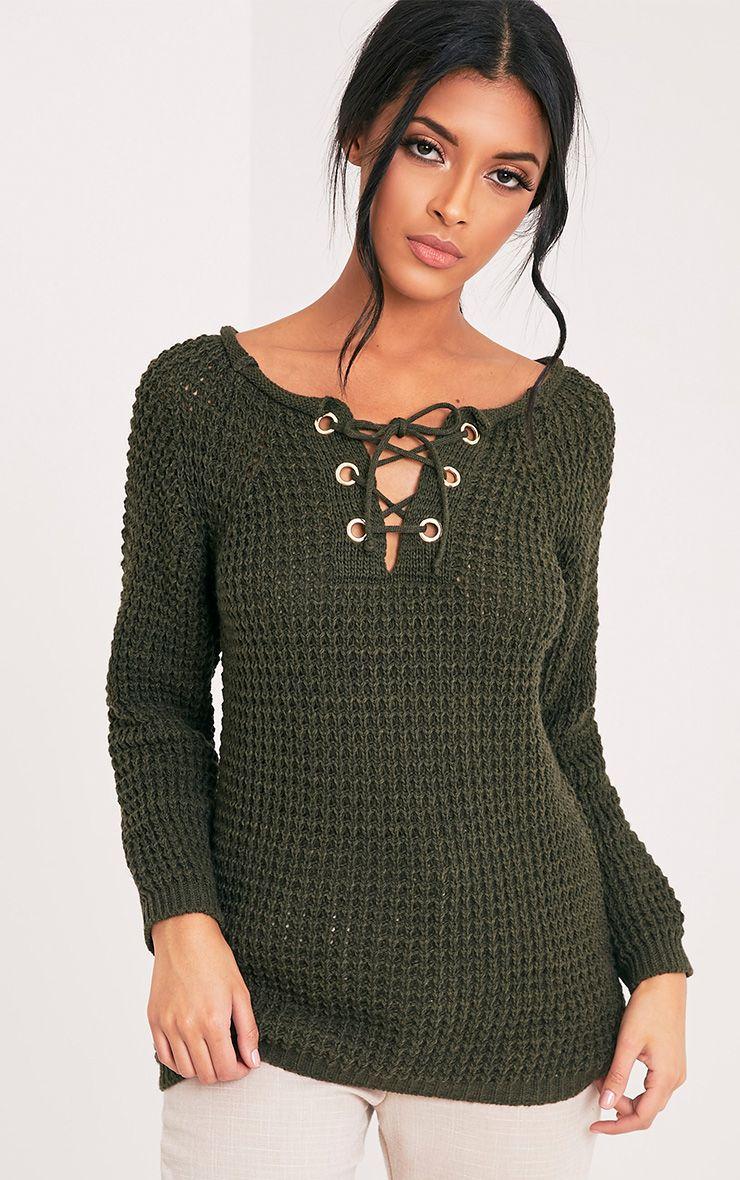 Haidyn Khaki Lace Up Knitted Jumper