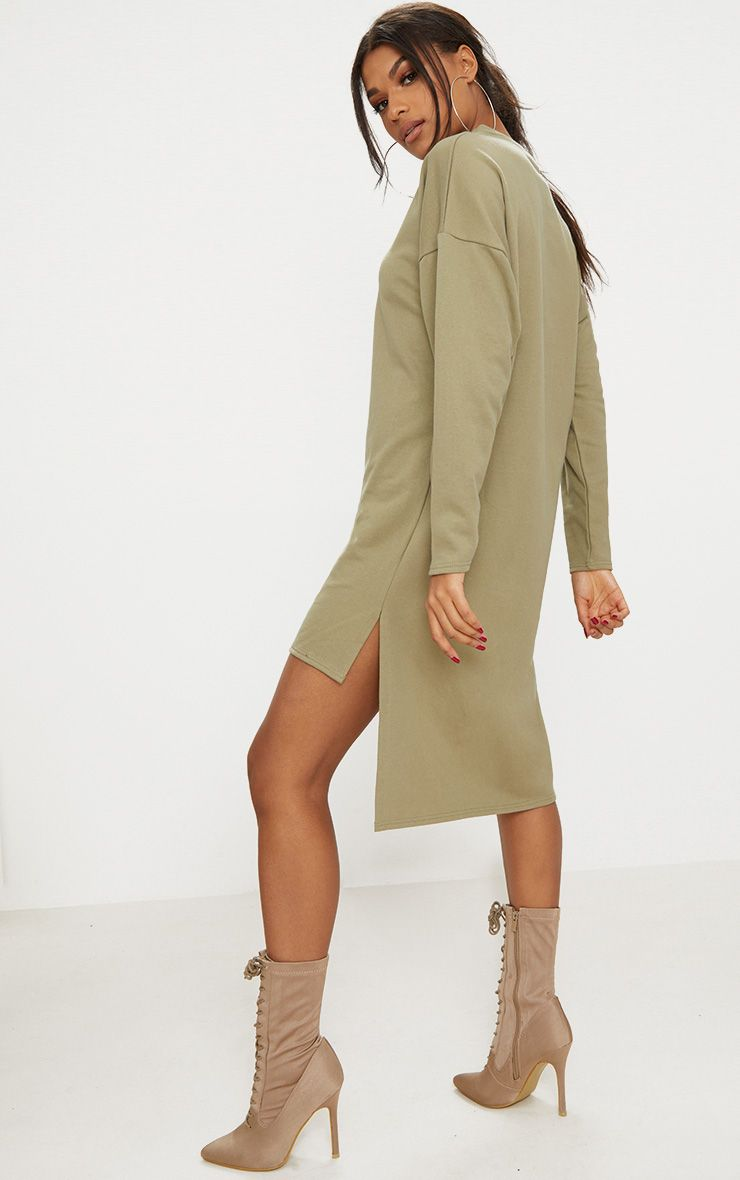 Sage Green Loop Back Step Hem Sweater Dress