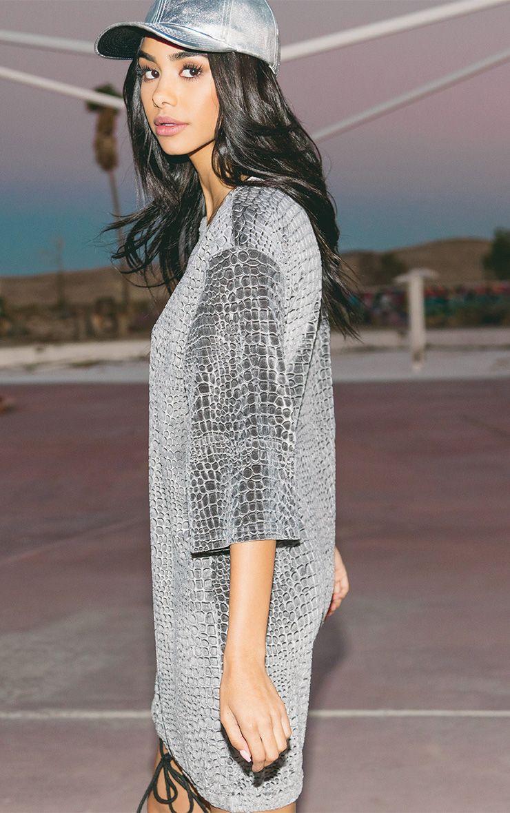 Isabelle Grey Animal Embossed Velvet Jumper Dress