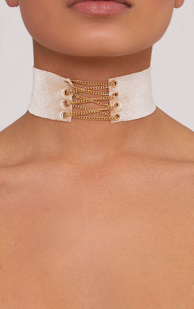 Jeslynne Gold Velvet Lace Up Choker