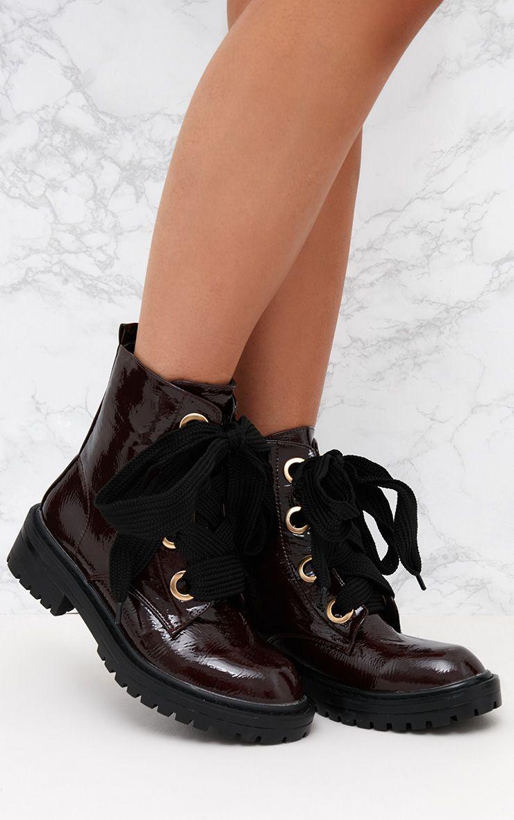 Burgundy Patent Eyelet Chunky Boot