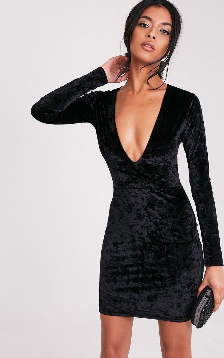 Charlie Black Plunge Detail Velvet Mini Dress