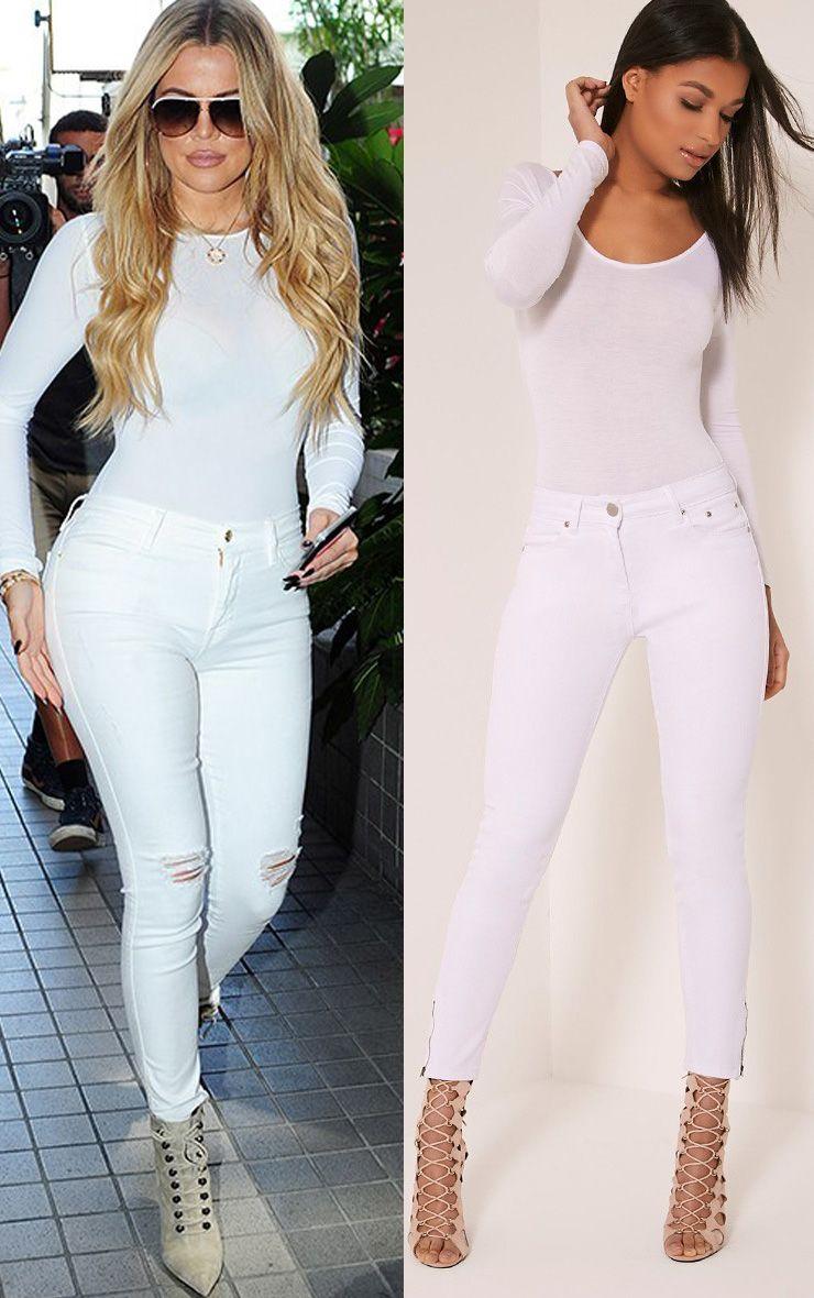 Khloe White High Waisted 5 Pocket Ankle Grazer Skinny Jean