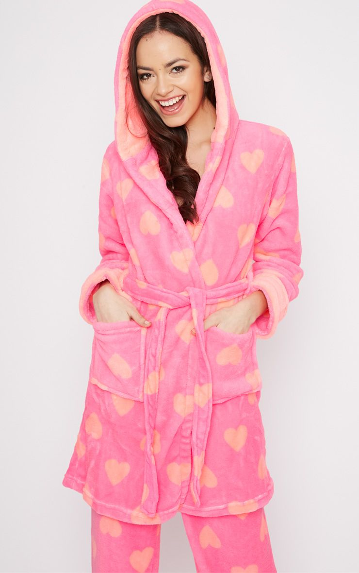 Gracie Neon Pink Heart Print Fleece Dressing Gown  1