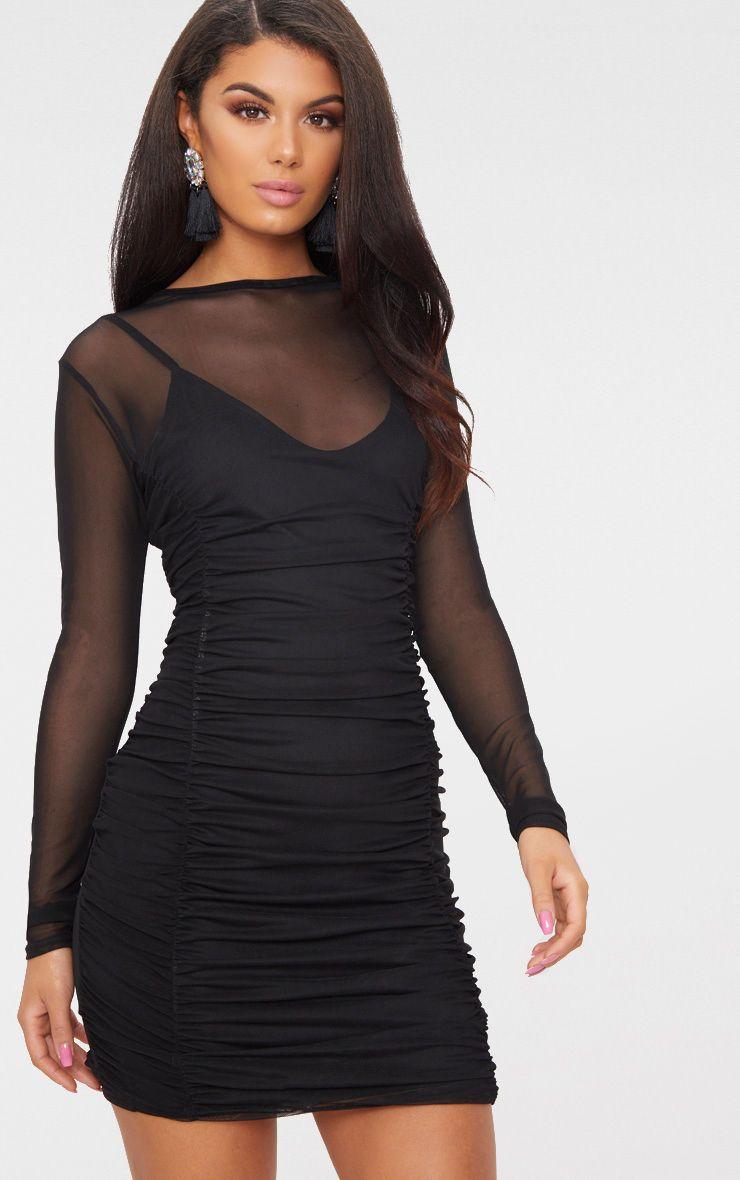 Bodycon dress sleeves mesh long sleeve online india