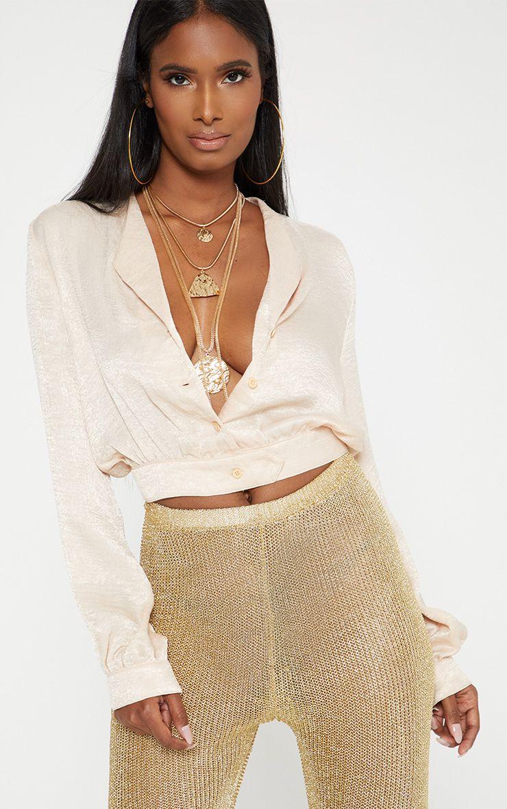 champagne Satin Button Front Crop Shirt