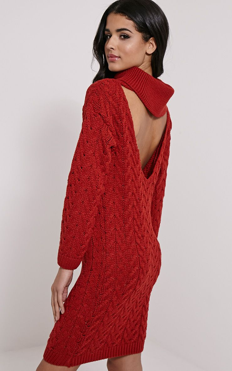 Stormie Rust Cable Knit Long Length Jumper Dress 1