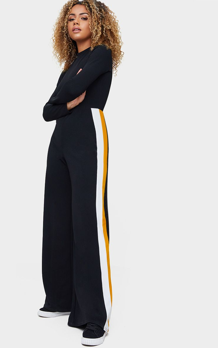 Black High Neck Sports Stripe Jumpsuit