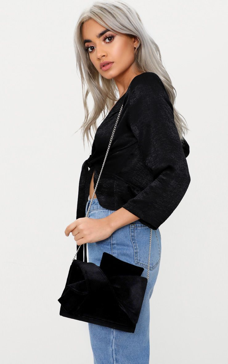 Black Velvet Bow Bag