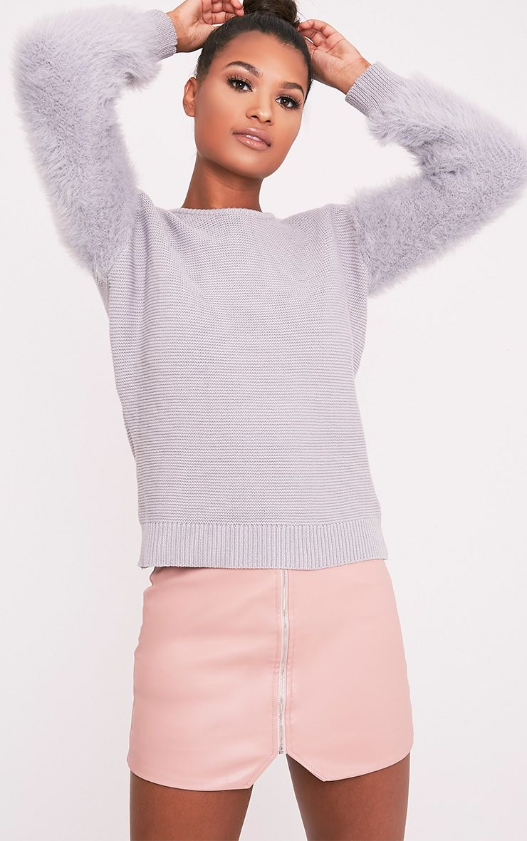 Rene Grey Fluffy Sleeve Fine Knit Jumper 1