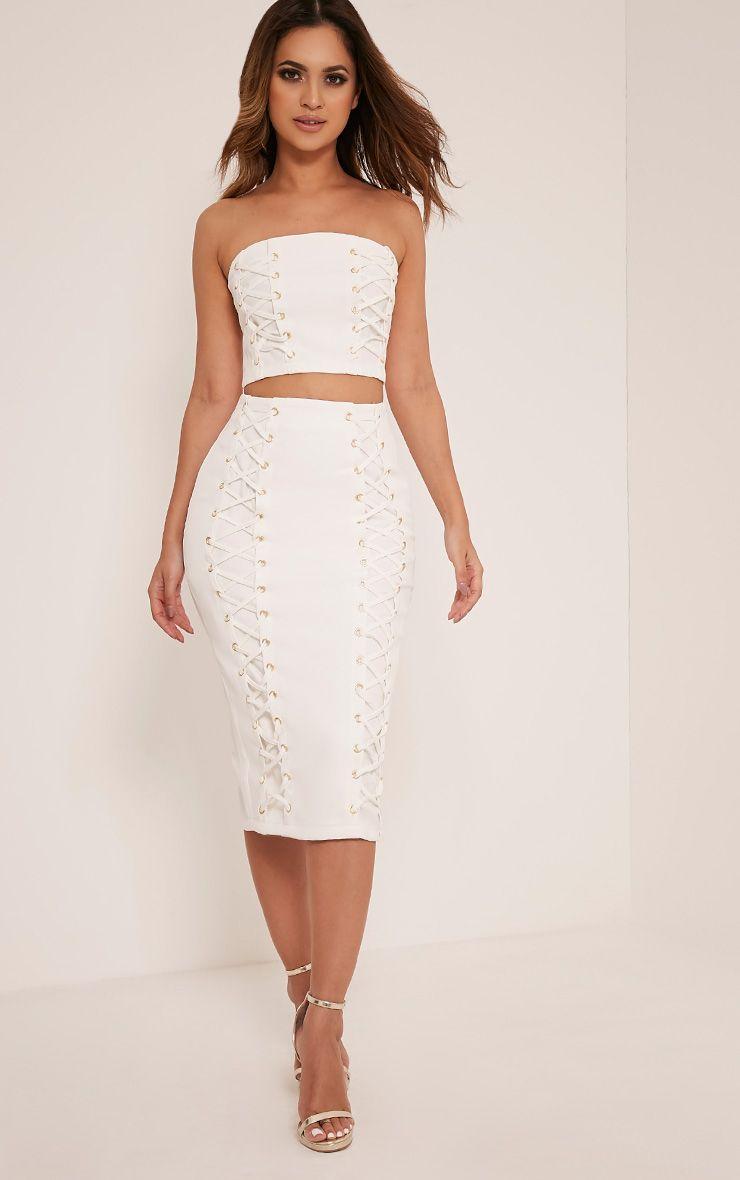 Haley White Lace Up Midi Skirt 1