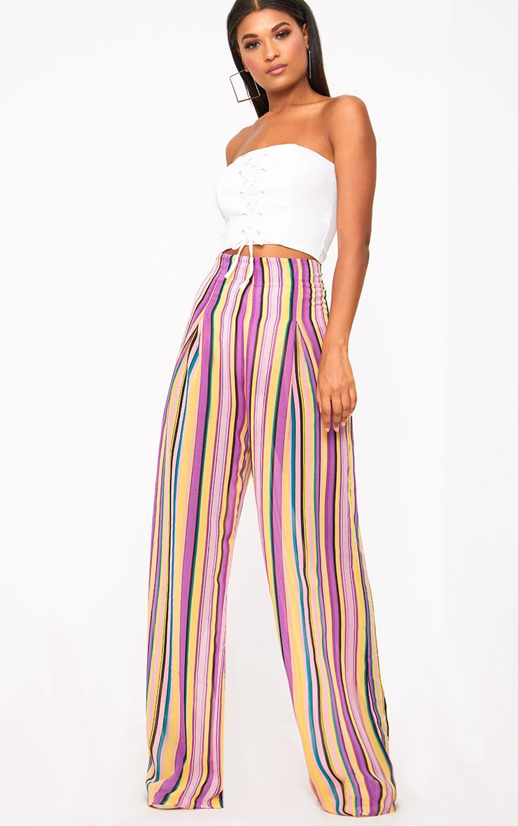Pink Chiffon Stripe High Waisted Wide Leg Trousers