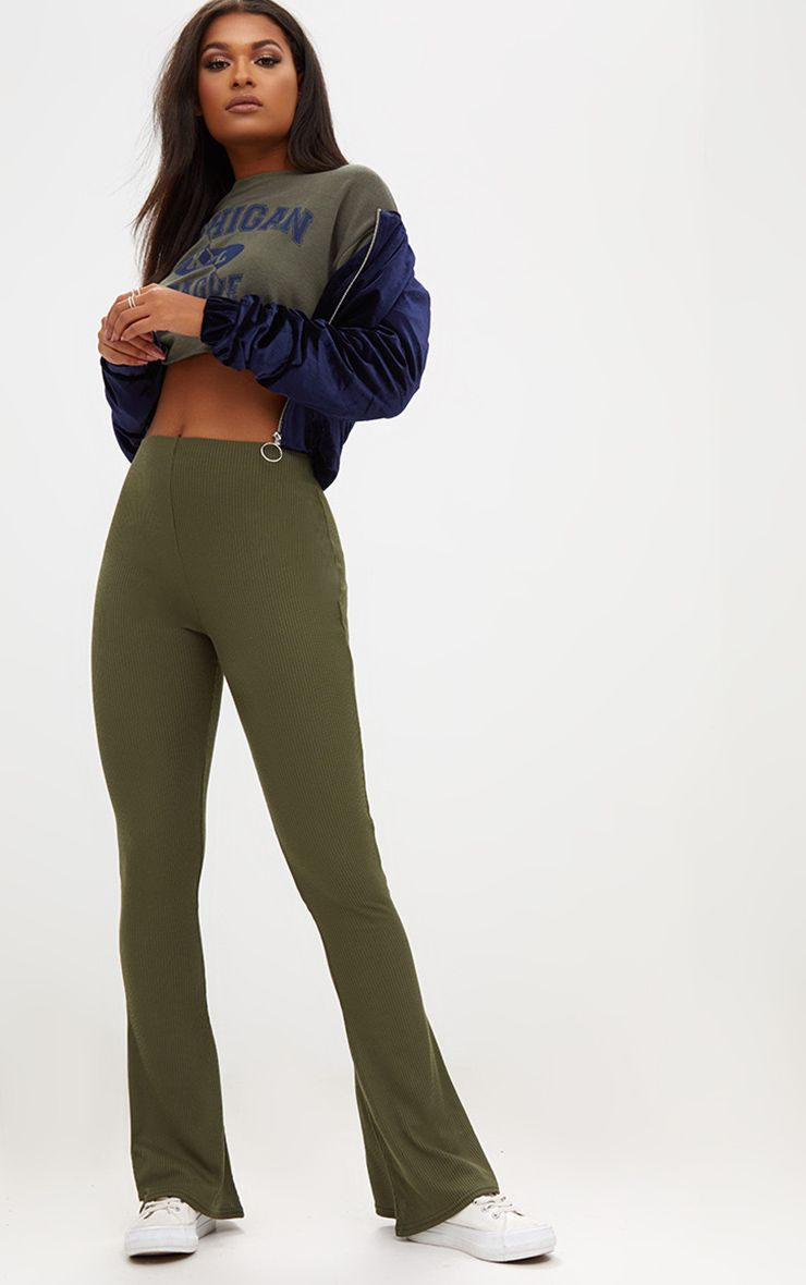 Khaki Ribbed Flared Trousers