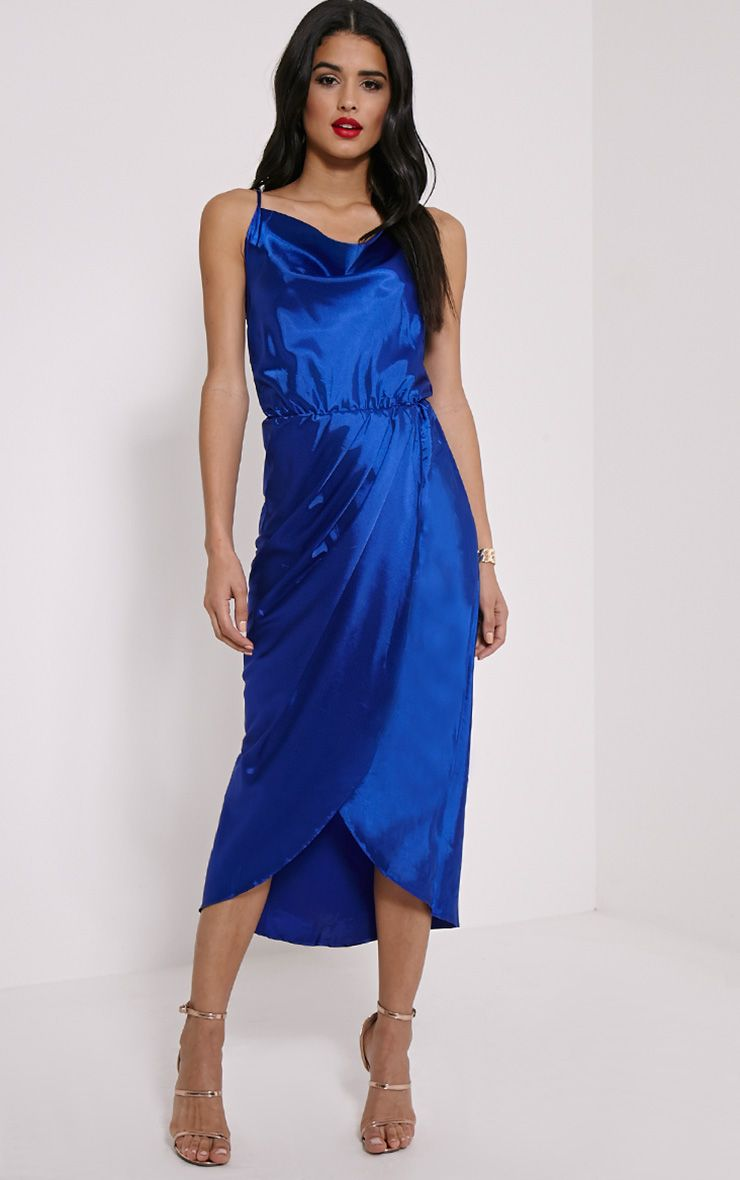 Gauge Navy Satin Wrap Front Maxi Dress 1