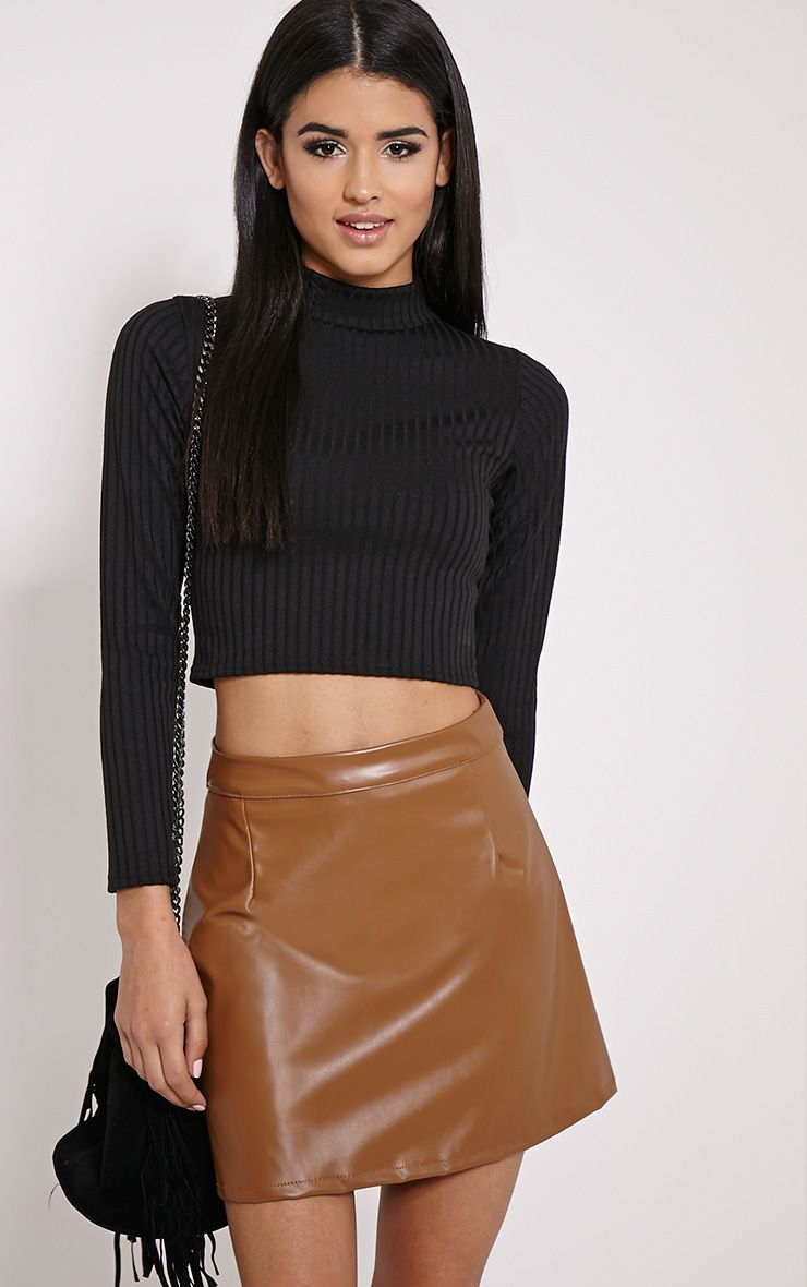 Black Rib Roll Neck Crop Top Pretty Little Thing Offer New Arrival 5T6SUHOW