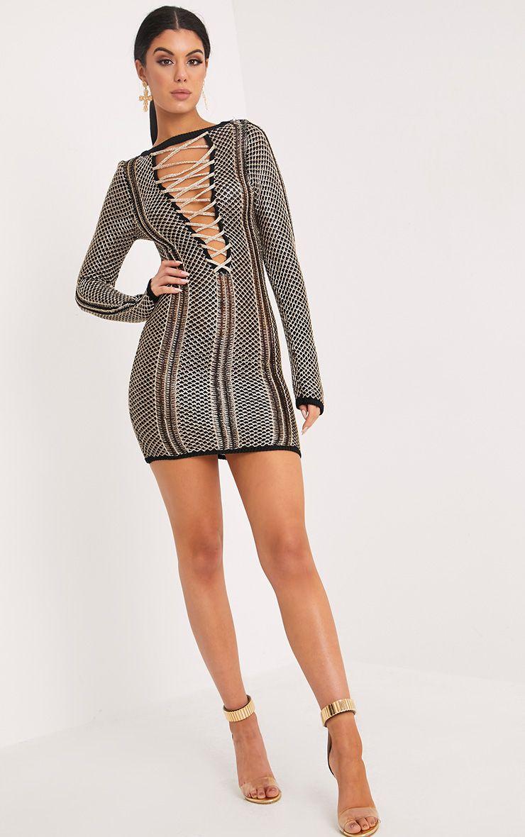 Venita Premium Metallic Black Knit Lace Up Mini Dress