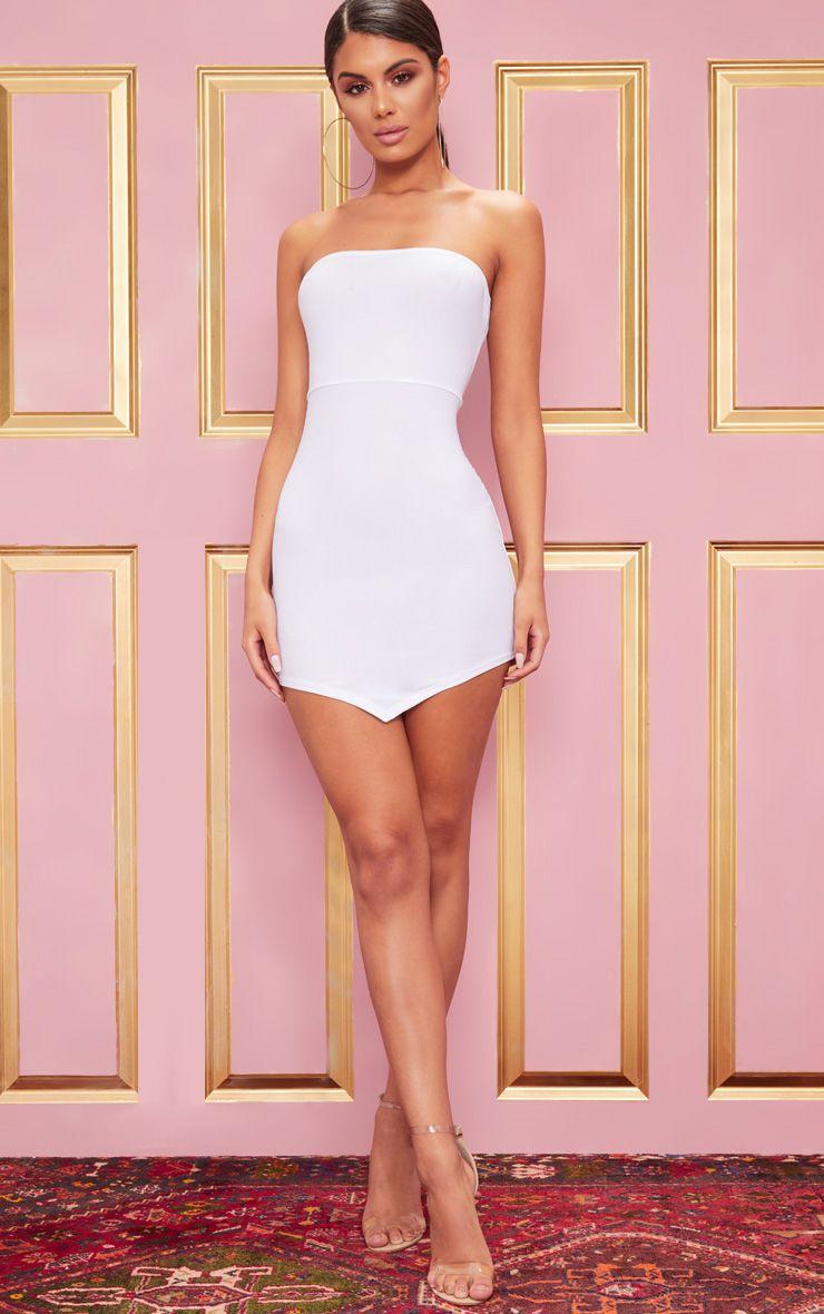 White Bandeau Pointy Hem Bodycon Dress 1