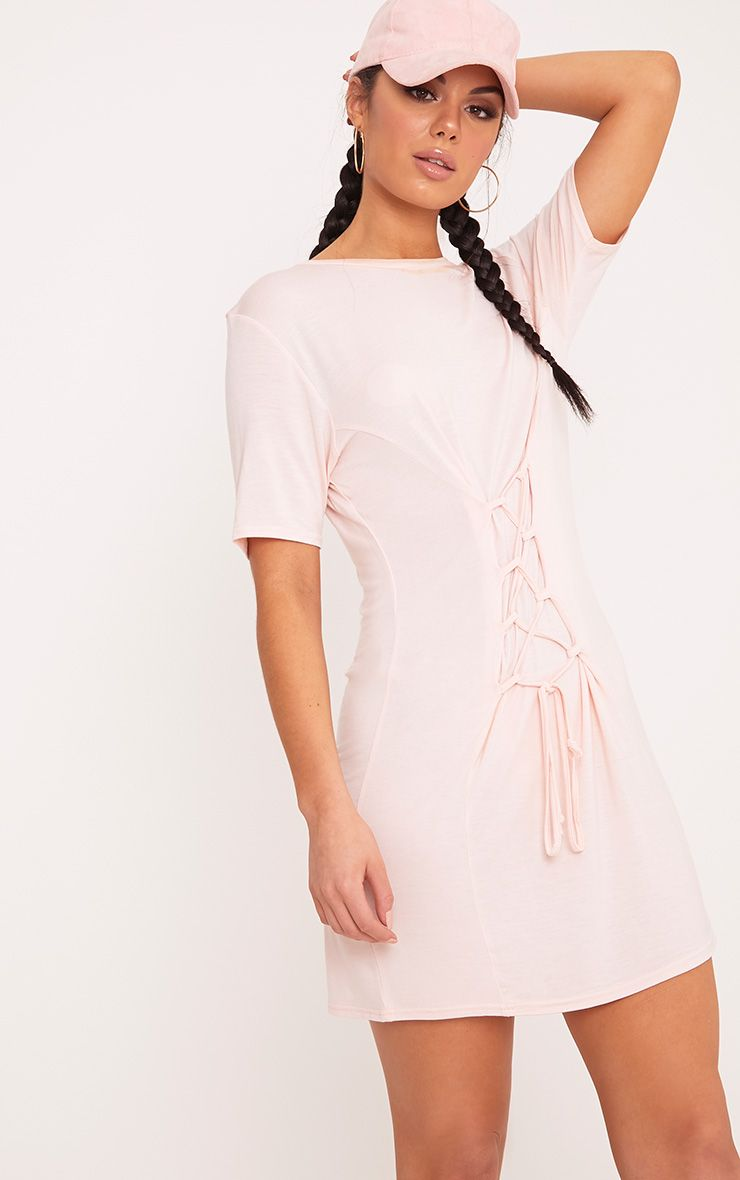 Benayah Nude Jersey Corset Detail T Shirt Dress 1