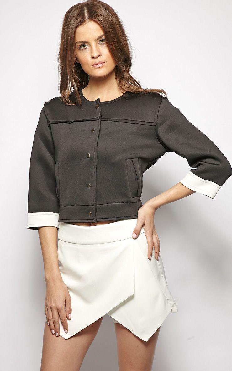 Jasmin Black Scuba Crop Jacket 1