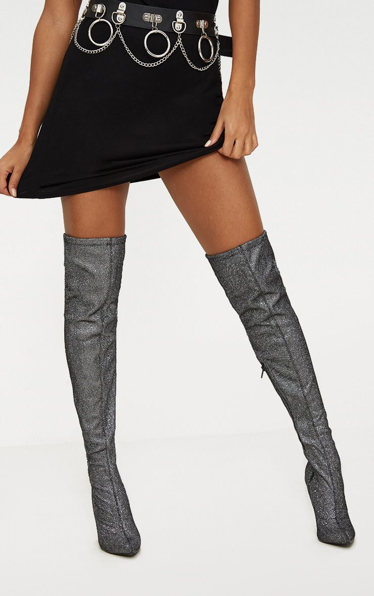Silver Glitter Thigh High Heeled Sock Boot